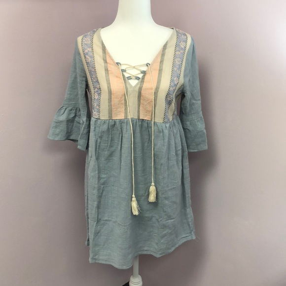 Tassels N Lace Dresses & Skirts - Babydoll Blue Dress with Tassel front